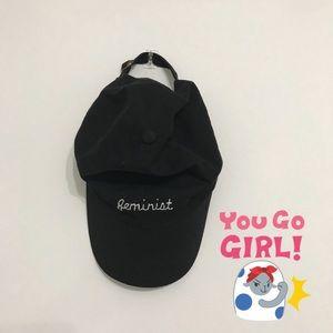 Feminist black baseball hat! 🌸💪